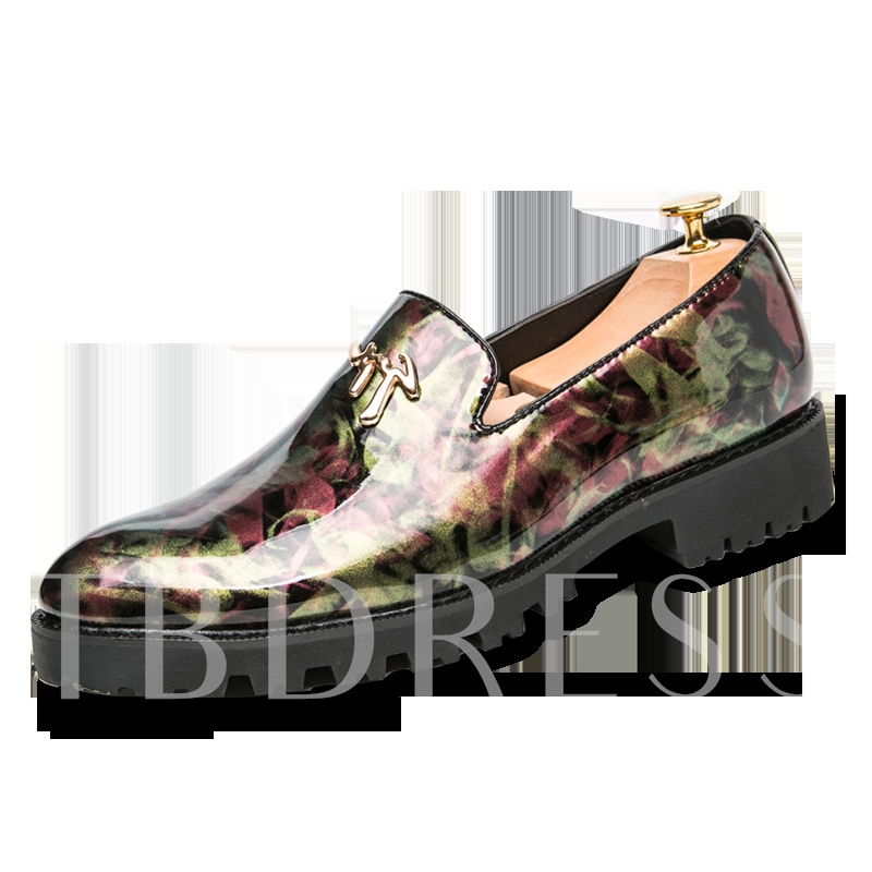 Patent Leather Print Slip-On Men's Loafers