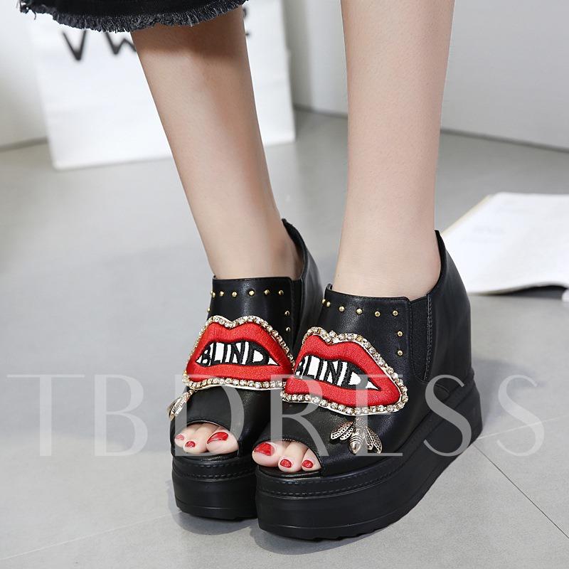Mouth Shaped Platform Rhinestone Rivet Sequins Embroidery Women's Wedges