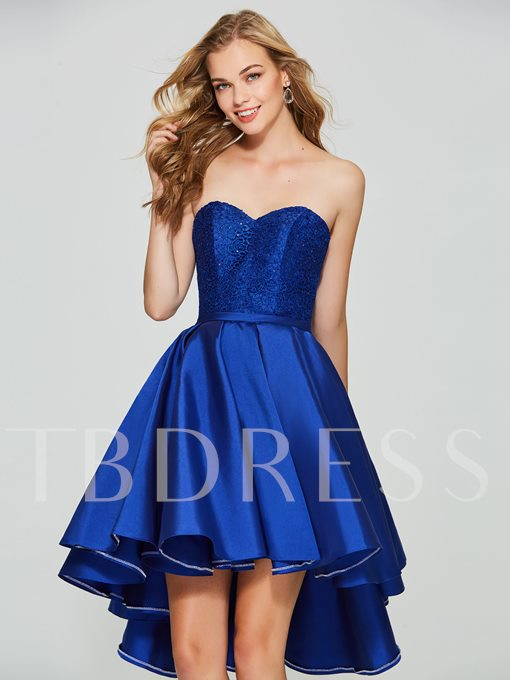 A-Line Sweetheart Lace Sequins Asymmetry Homecoming Dress
