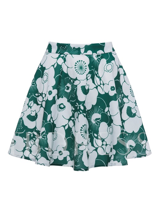Color Block Flower Print Vacation Women's Mini Skirt