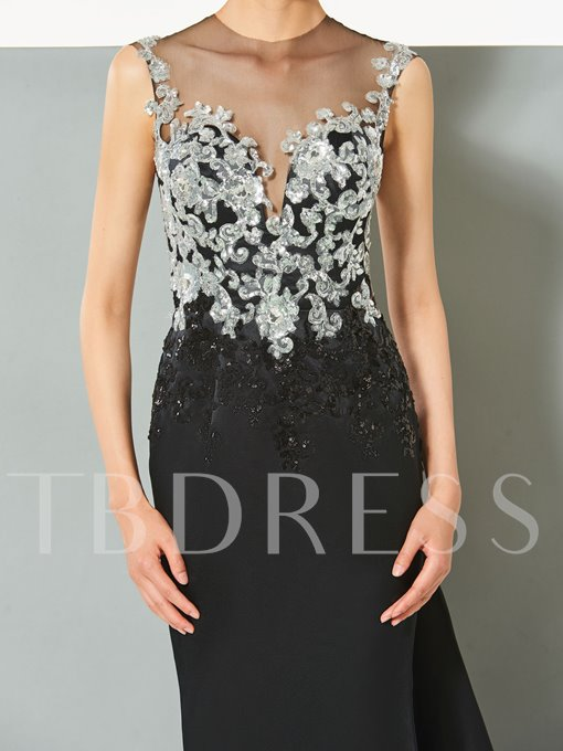 A-Line Jewel Appliques Beading Button Cap Sleeves Evening Dress