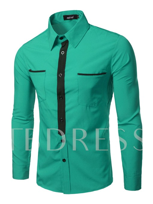 Lapel Contrast Trim Slim Casual Men's Button Shirt