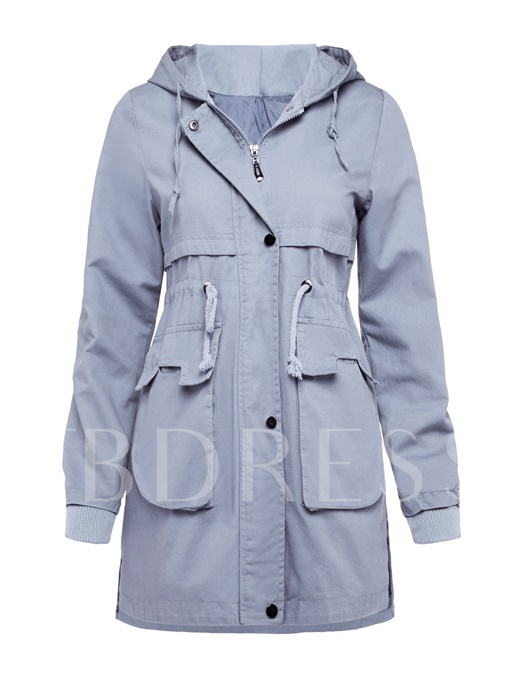 Zipper Lapel Pocket Women's Overcoat