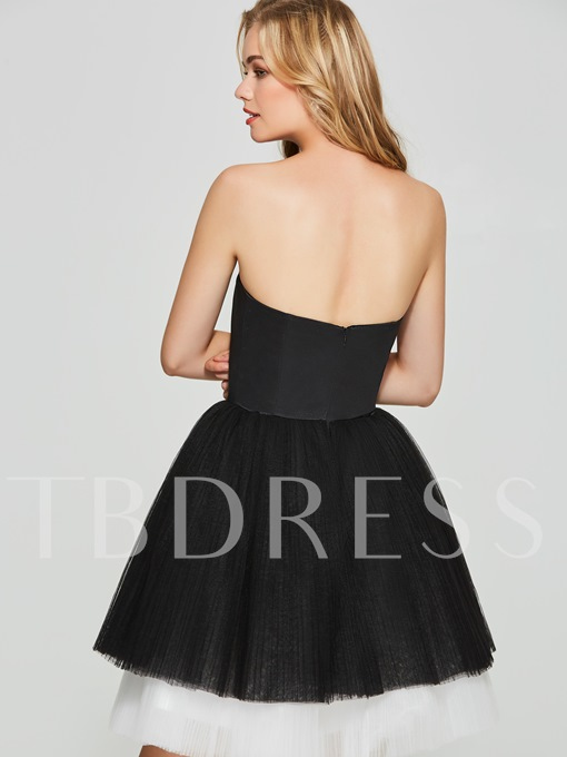 A-Line Strapless Multi Color Short Homecoming Dress