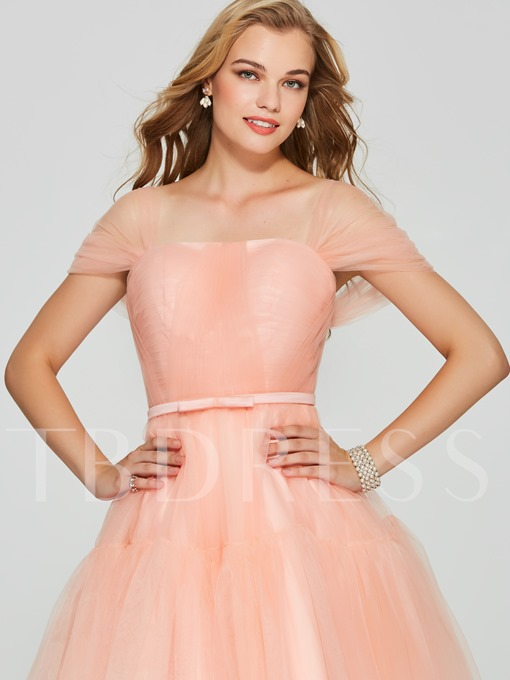 A-Line Short Sleeves Square Bowknot Mini Homecoming Dress