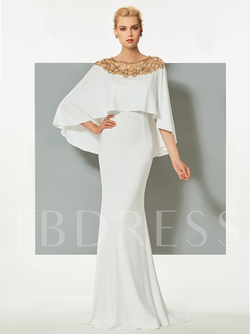 Mermaid Bateau Beading Sweep Train Evening Dress