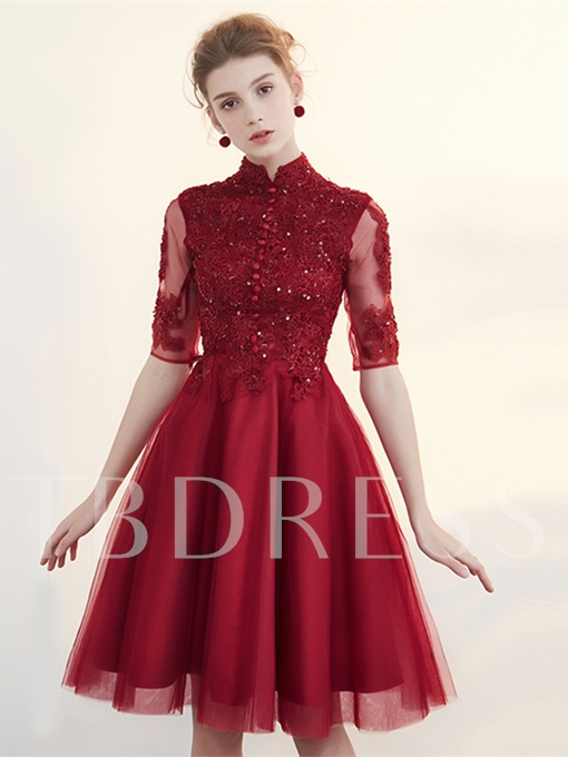 A-Line High Neck Appliques Button Pleats Half Sleeves Homecoming Dress