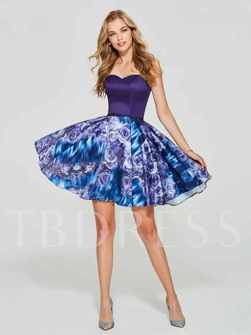 A-Line Sweetheart Printed Short Homecoming Dress