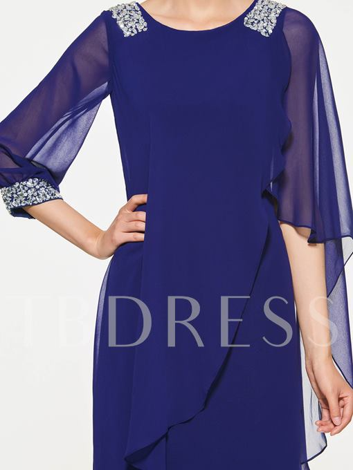 Scoop Neck Beading Knee-Length Mother Of The Bride Dress