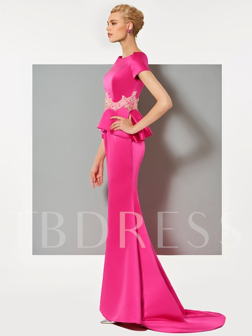Appliques Mermaid Ruffles Evening Dress