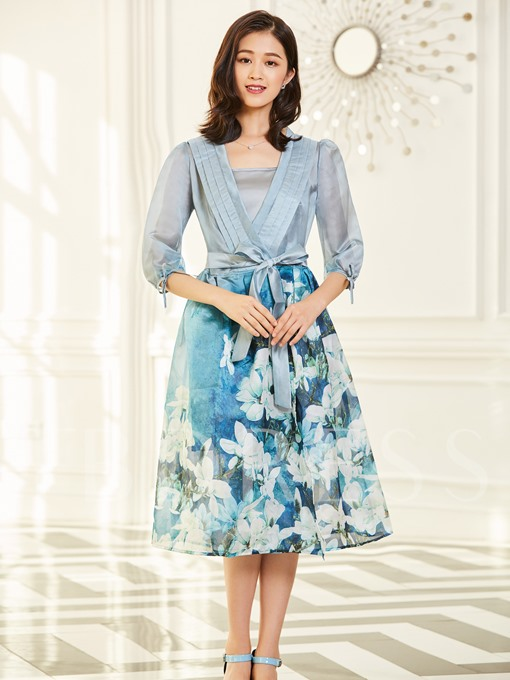 Blue Double-Layered Lace up Women's Day Dress