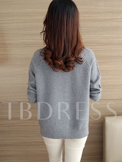 Thread Plain Half-Collar Women's Sweater
