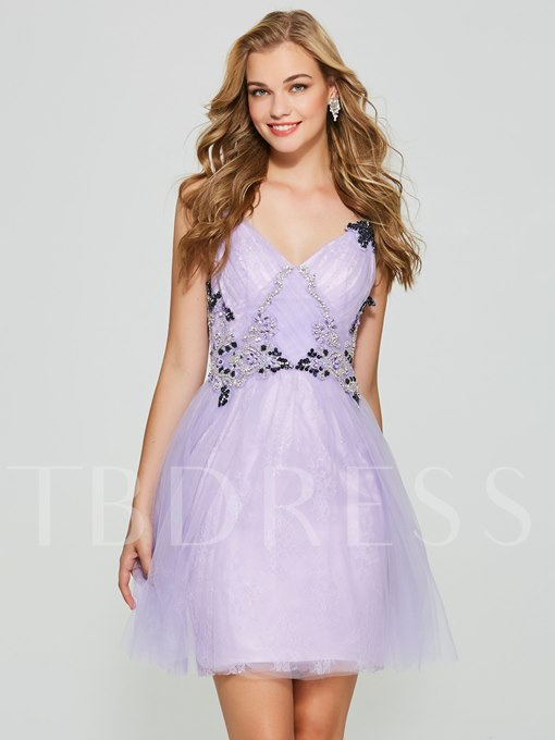A-Line Appliques Beading Spaghetti Straps Short Homecoming Dress
