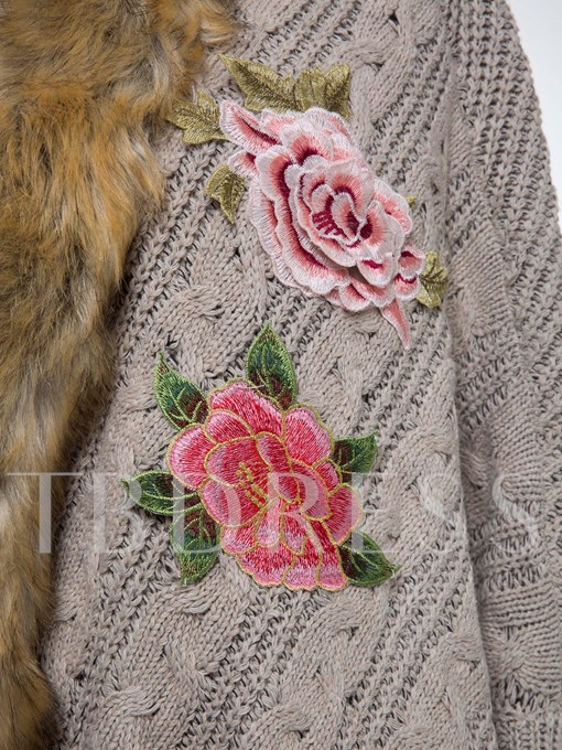 Flower Embroidery Wool Vacation Women's Overcoat