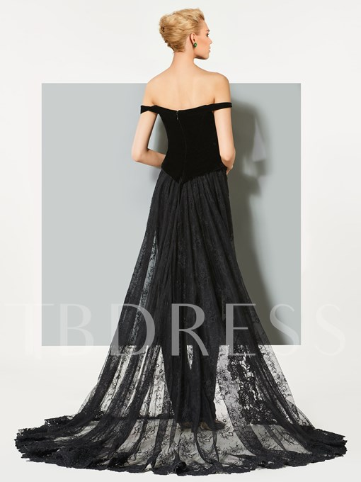 A-Line Velvet Off-the-Shoulder Lace Evening Jumpsuits