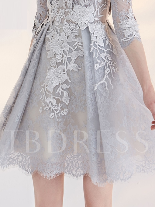 A-Line Bateau 3/4 Length Sleeves Appliques Lace Short Homecoming Dress