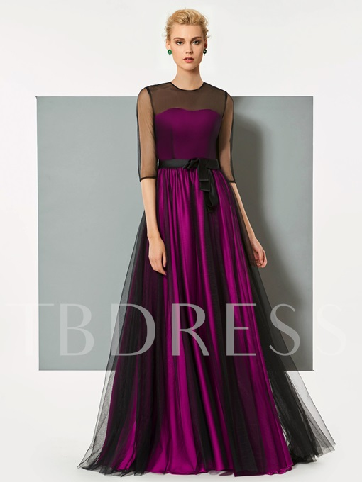 A-Line Button Half Sleeves Bowknot Button Scoop Evening Dress