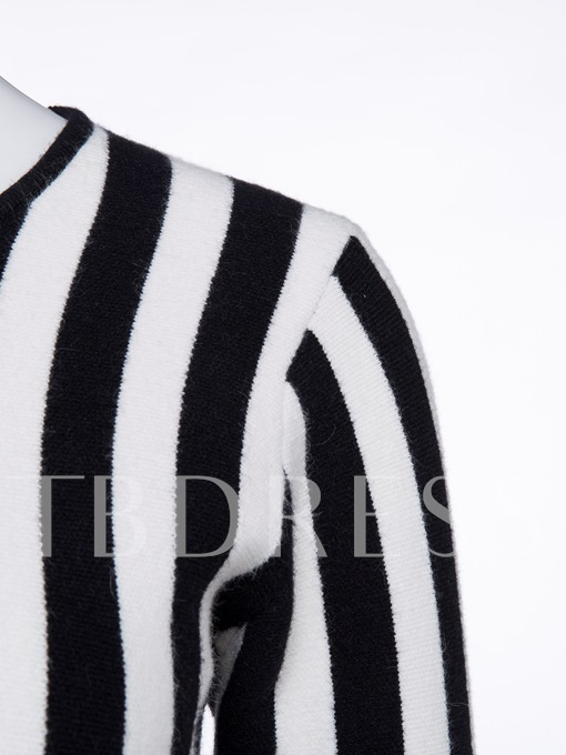 Stripe Color Block Slim Women's Sweater