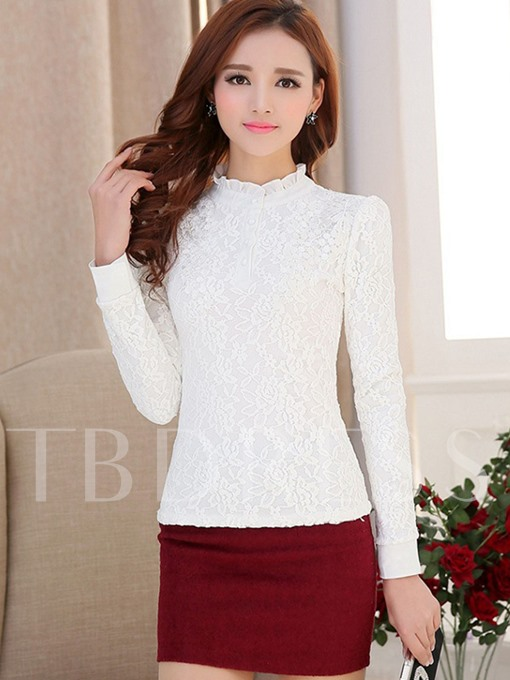 Lace Patchwork Button Stand Collar Women's Blouse