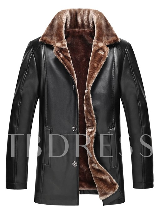 Lapel Single-Breasted Thicken Warm PU Men's Winter Coat