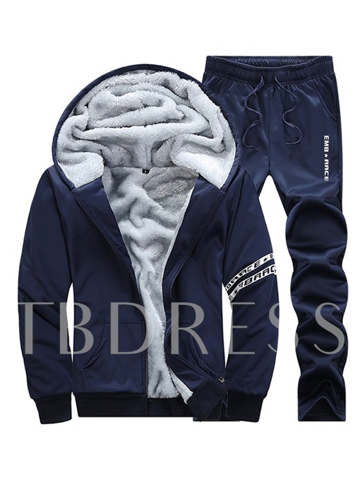 Hooded Thicken Warm Down Plain Men's Sports Suit