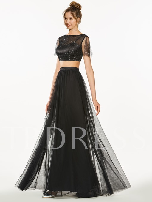 A-Line Two Pieces Bateau Short Sleeves Sequins Prom Dress