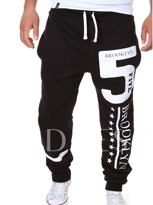Lace-up Letter Printed Leisure Men's Casual Pants