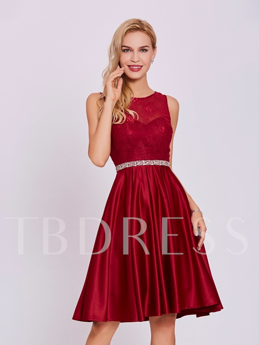 Scoop Neck Beaded Lace Homecoming Dress