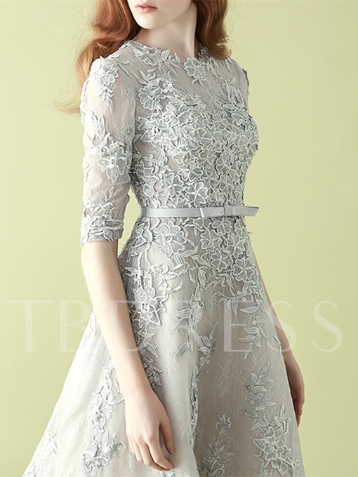 A-Line Half Sleeves Jewel Appliques Bowknot Lace Sashes Homecoming Dress