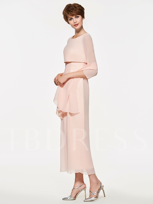 Sheath Tea-Length Mother of the Bride Dress with Sleeves