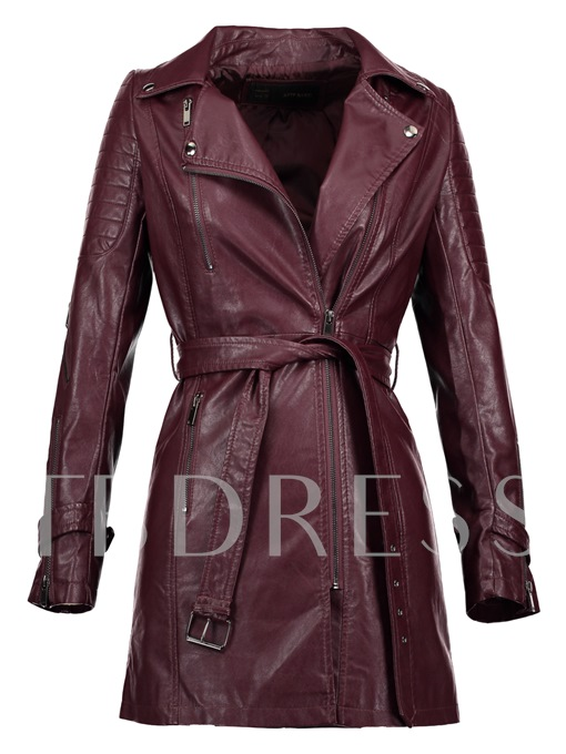 Lapel Plain Mid-Length Women's PU Jacket