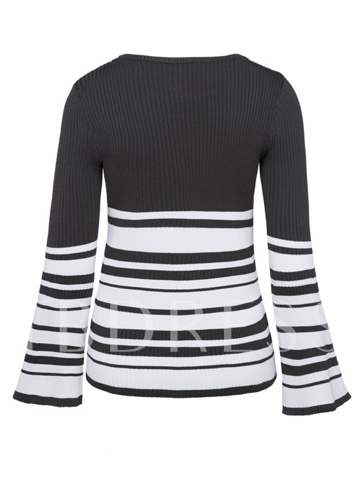 Bell Bottom Sleeve Stripe Slim Fit Women's Sweater