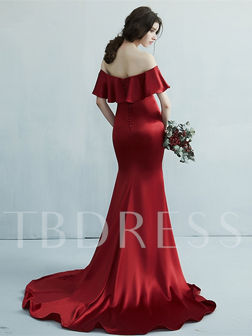 Mermaid Off-the-Shoulder Beading Button Pick-Ups Court Train Evening Dress