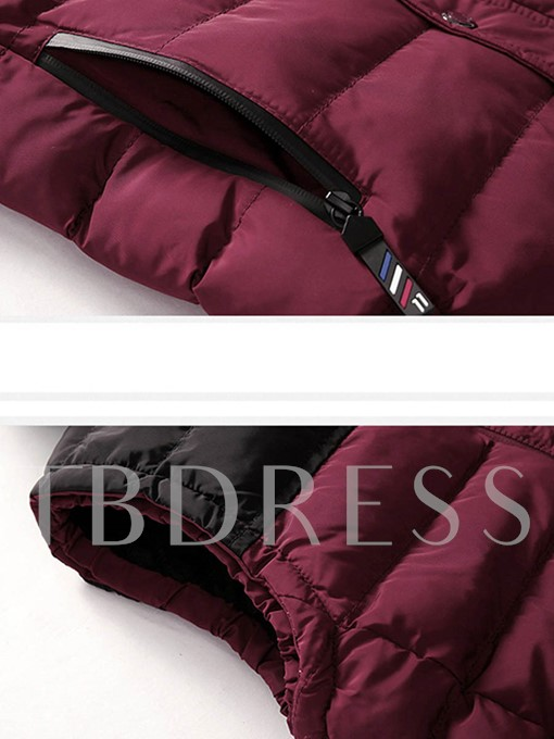 Contrast Color Block Hooded Thick Stand Collar Men's Winter Vest