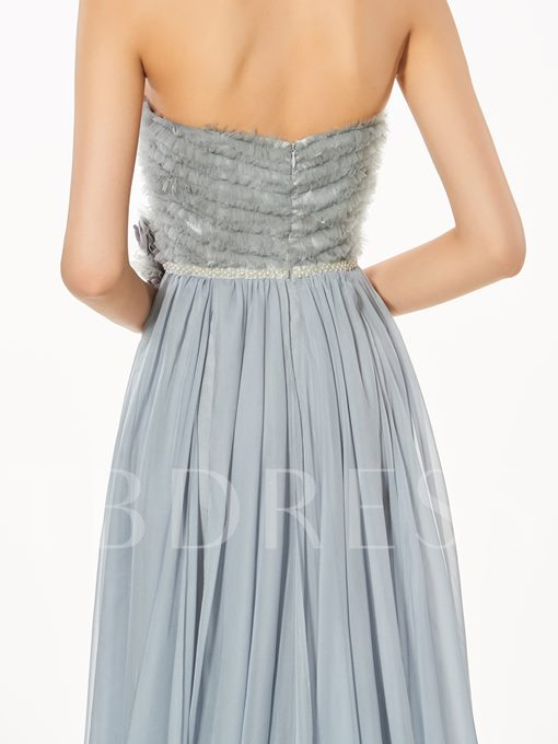A-Line Sweetheart Flowers Split-Front Sweep Train Prom Dress