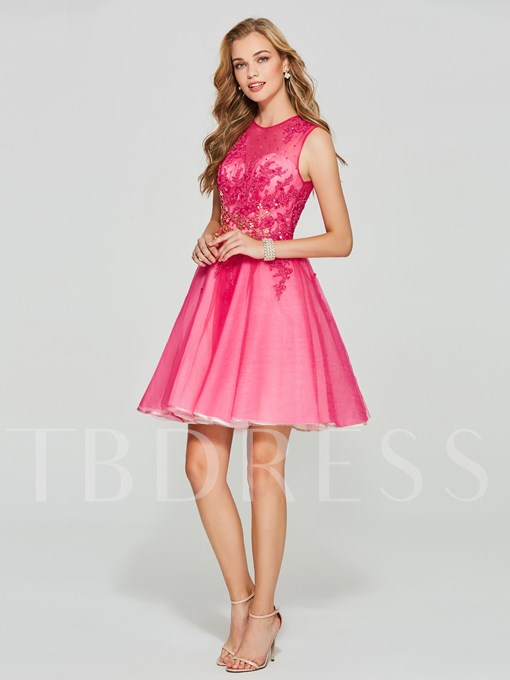 Jewel A-Line Button Appliques Mini Homecoming Dress