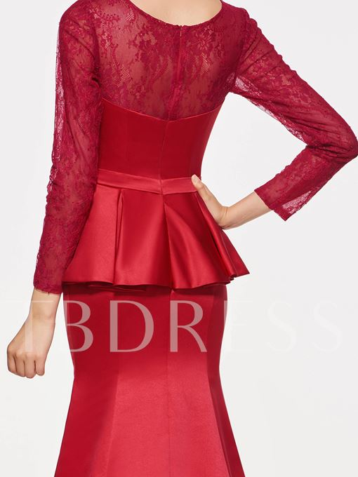 Long Sleeves Lace Mermaid Mother Of The Bride Dress