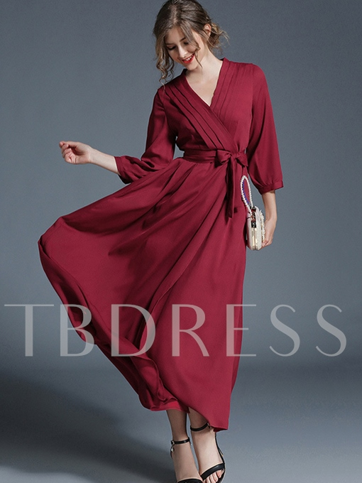 Red V Neck Lace up Women's Maxi Dress