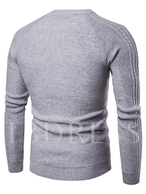 Solid Color Round Neck Cotton Men's Sweater