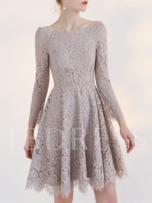 A-Line Lace Off-the-Shoulder Long Sleeves Short Homecoming Dress