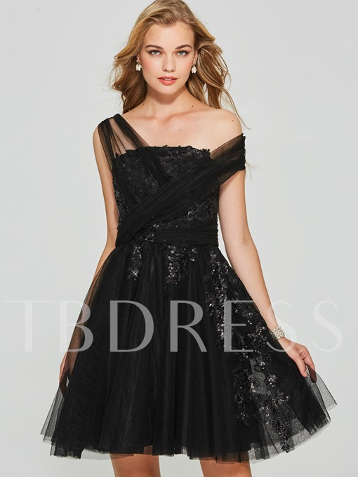 A-Line Appliques Sequins One-Shoulder Short Homecoming Dress