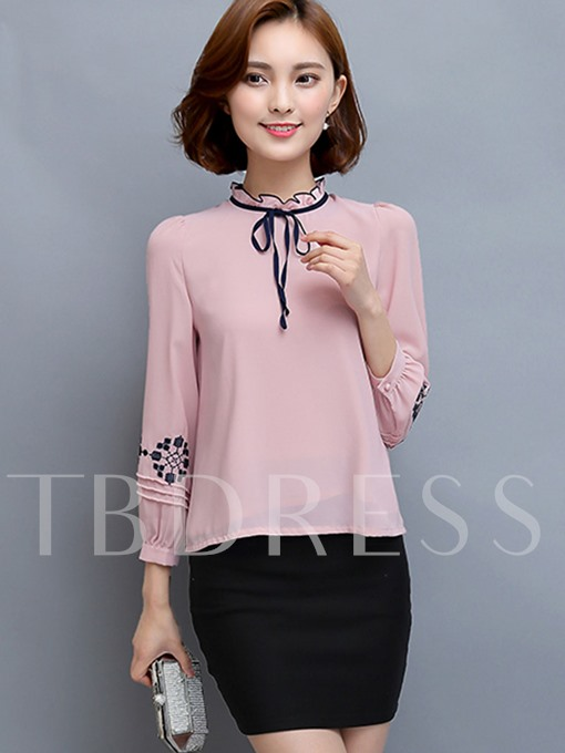 Loose Stand Collar Lace-Up Women's Blouse