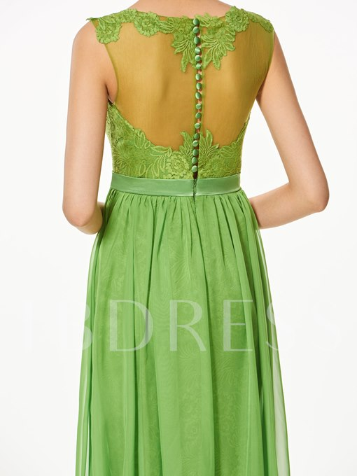 A-Line Button Lace Scoop Floor-Length Prom Dress