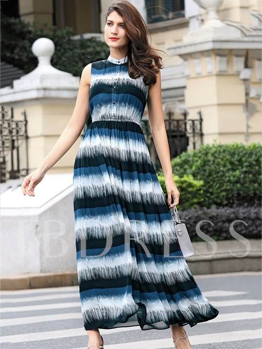 Blue Single-Breasted Women's Maxi Dress