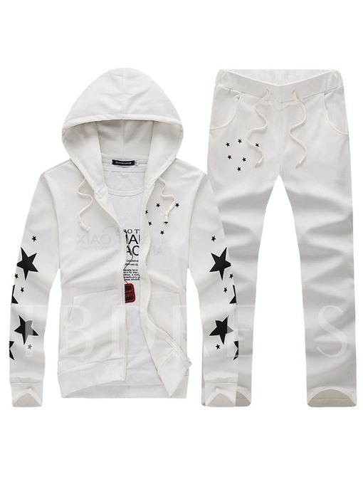 Hooded Star Printed Thin Leisure Men's Sports Suit