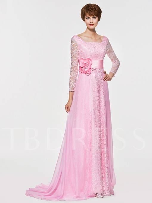 Square Neck Lace Mother Of The Bride Dress with Sleeve