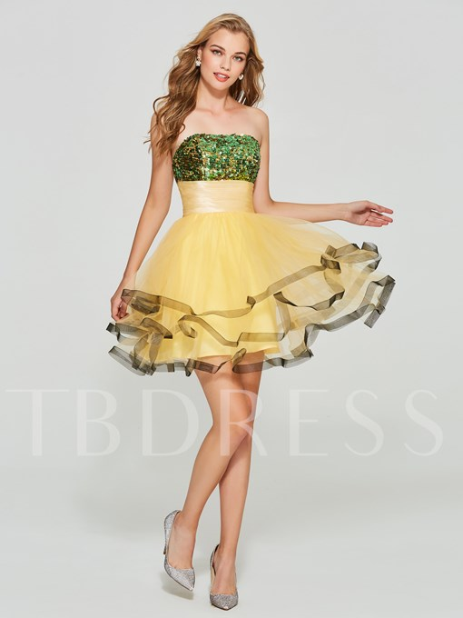 Strapless A-Line Sequins Pleats Mini Homecoming Dress