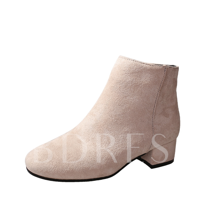 Square Toe Block Heel Side Zipper Women's Plain Ankle Boots
