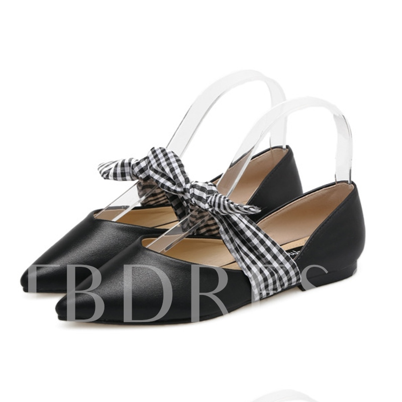 Pointed Toe Lace-Up Bow Block Heel Women's Sweet Flats Shoes