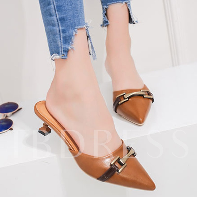 Slip-On Color Block Stiletto Heel Sequins Women's Pointed Toe Mules